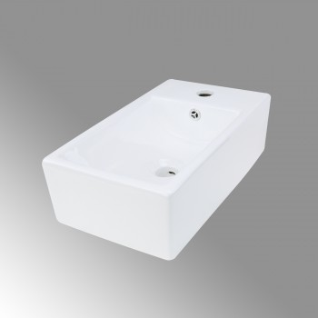 Small White Vessel Sink Vitreous China Rectangle Scratch and Stain Resistant