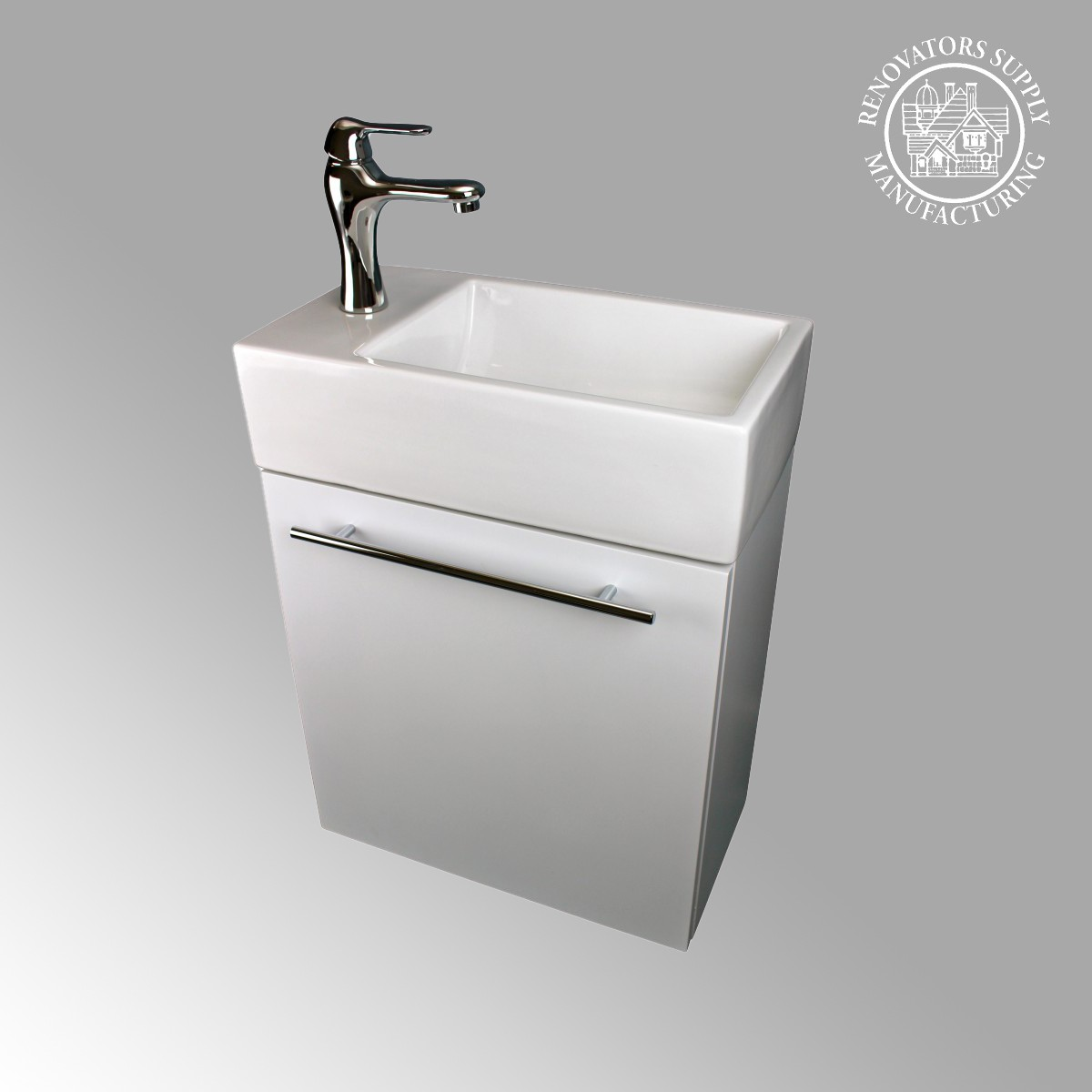 17 Small White Bathroom Vanity Wall Mount Cabinet Sink Faucet Combo And Drain