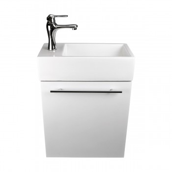 <PRE>17inch Small White Vanity Bathroom Cabinet Sink with Faucet, Drain and towel bar</PRE>zoom3