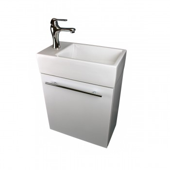 Bathroom Sink White Vanity with Towel Bar, Faucet and Drain Wall Mount Storage21945grid