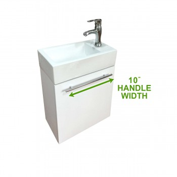 "spec-<PRE>Dandi 17 3/4"" Small Wall Mounted Cabinet Vanity Bathroom Sink White with Towel Bar Faucet Drain and Overflow</PRE>"