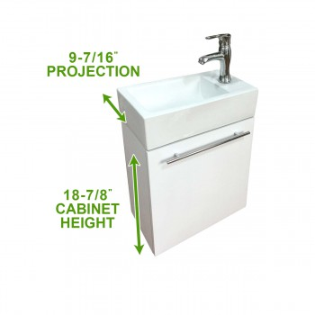 spec-<PRE>Bathroom Sink White Vanity with Towel Bar, Faucet and Drain Wall Mount Storage</PRE>
