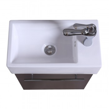 <PRE>17inch Small Bathroom Vanity Wall Mount Cabinet White Sink Drain and Faucet Combo</PRE>zoom7