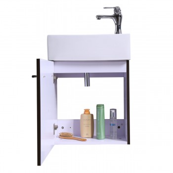 <PRE>17inch Small Bathroom Vanity Wall Mount Cabinet White Sink Drain and Faucet Combo</PRE>zoom8