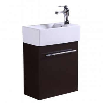 White Bathroom Sink with Brown Vanity Cabinet Towel Bar Faucet and Drain