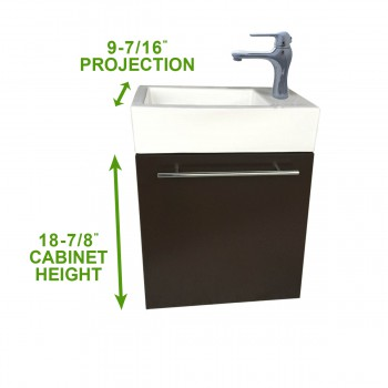 "spec-<PRE>Dandi 17 3/4"" Small Wall Mounted Cabinet Vanity Bathroom Sink Dark Oak Finish with Towel Bar Faucet Drain and Overflow</PRE>"