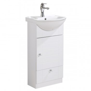 Small Bathroom Vanity with Cabinet Faucet and Drain White China Sink