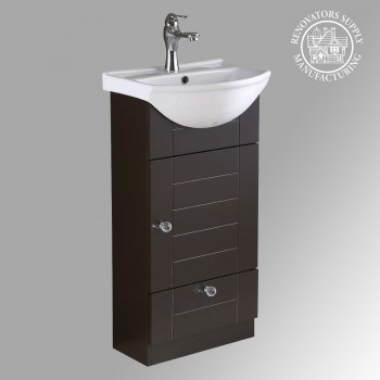 Mahayla 17 3 4 Small Cabinet Vanity Bathroom Sink Dark Oak Finish With Faucet Drain And Overflow Item 21954