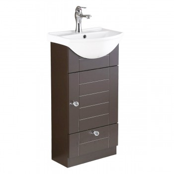Small Bathroom Cabinet Sink with Dark Oak Cabinet Chrome Faucet and Drain