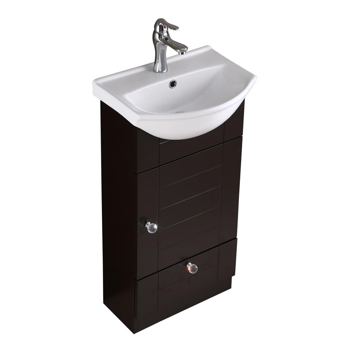 Renovators Supply Small Bathroom White and Black Vanity Cabinet Sink Bathroom Cabinet Sink Vanity Sinks For Bathrooms Wall Mount Cabinet Sink