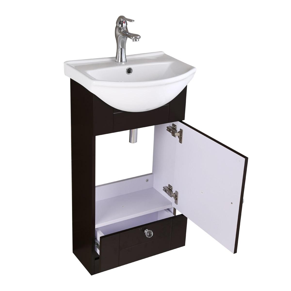 Single bathroom vanity cabinet sink wall mount black - Small bathroom sink cabinet ...