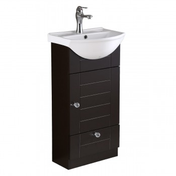 Small Bathroom Vanity Cabinet with White Sink  Black Cabinet Faucet and Drain