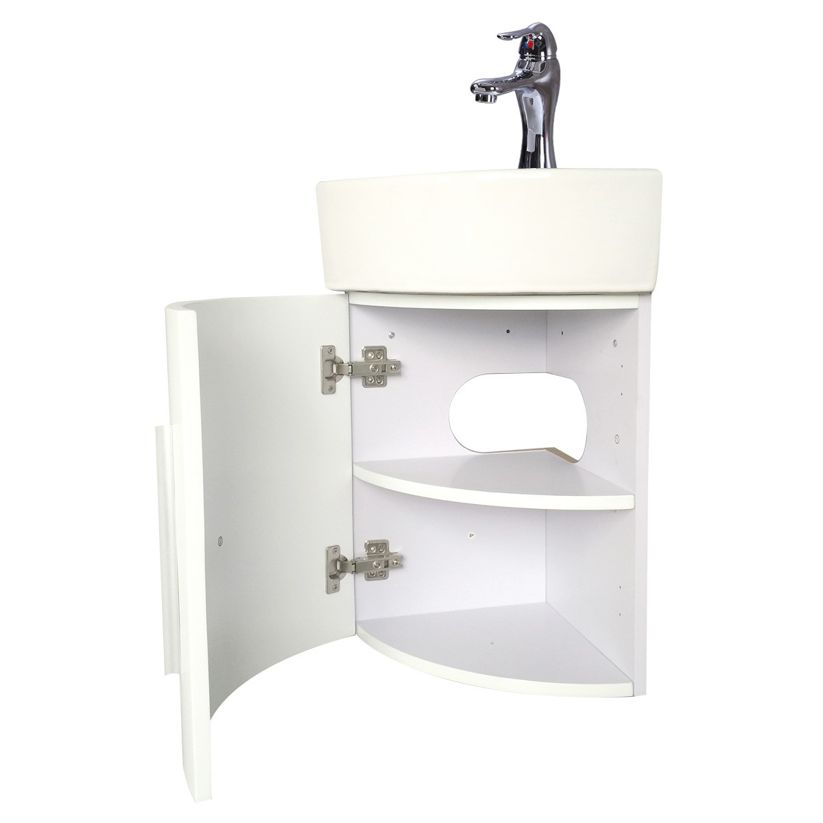 Renovators Supply Corner Bathroom White Vanity Cabinet Sink Faucet Drain Combo Modern Cabinet Vanity Sink Corner Bathroom Cabinet sink Wall Mount Corner Cabinet Sink