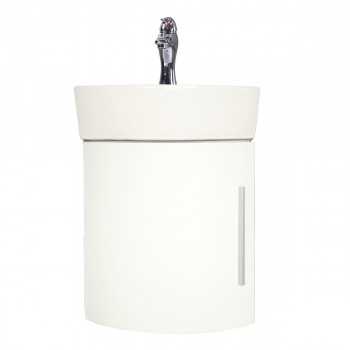 Bathroom White Wall Mount Corner Cabinet Vanity Sink with Faucet and Drain
