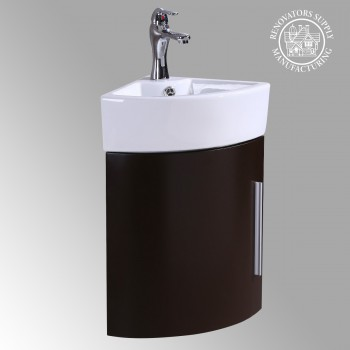 Renovators Supply Corner Bathroom White and Brown Vanity Cabinet Sink Bathroom Cabinet Sink Vanity Sinks For Bathrooms Wall Mount Cabinet Sink