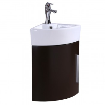 Corner Wall Mount Vanity White Sink with Dark Oak Cabinet Faucet and Drain