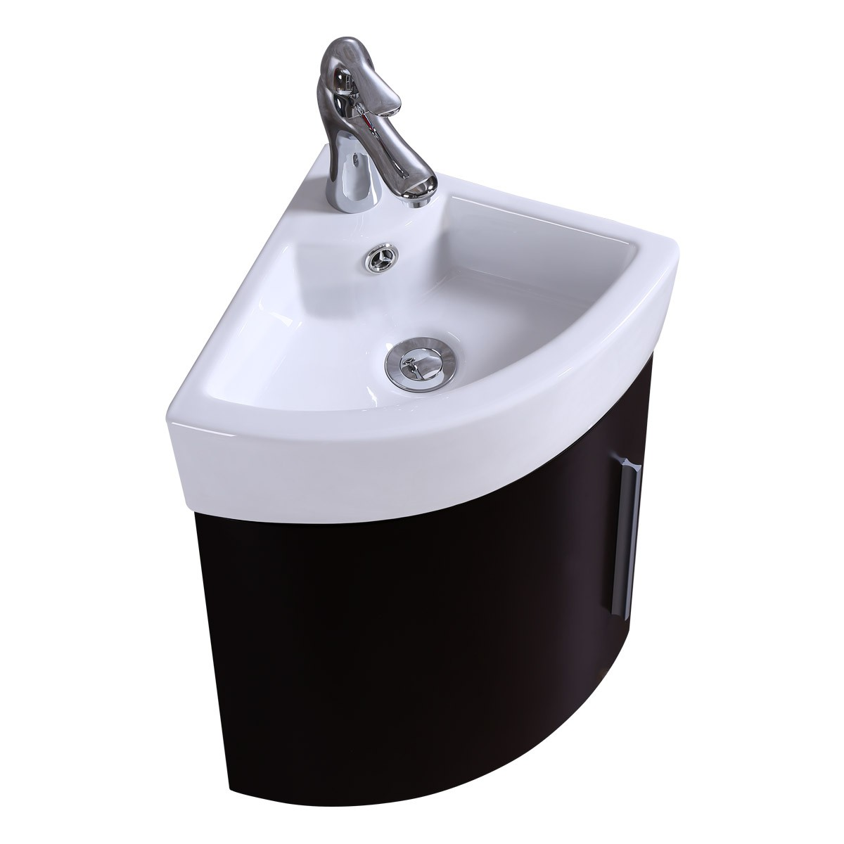 Corner Wall Mount Bathroom Vanity Sink Combo White Sink With Black Vanity
