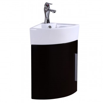 Bathroom Black Wall Mount Corner Cabinet Vanity White Sink with Faucet and Drain21959grid