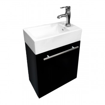 Small White Vanity Bathroom Sink Black Cabinet with Faucet and Drain Wall Mount
