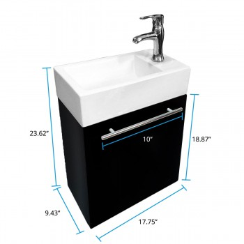 spec-<PRE>Renovator's Supply Small Wall Mount Bathroom Vanity Cabinet Sink Faucet Drain</PRE>