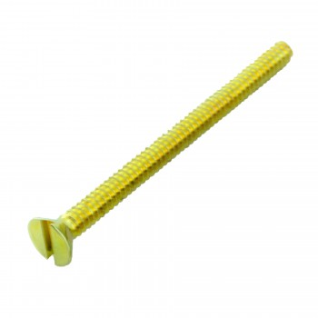 spec-<PRE>6/32X 1 3/4&quot; Flathead Slotted Brass Plated Machine Screw Pack of 100</PRE>