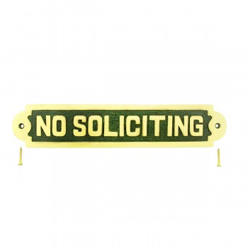 Solid Brass Sign No Soliciting 2 18 H x 10 34 W