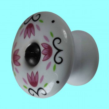 <PRE>Cabinet Knob White Porcelain 1 1/4inch W/ Black Screw </PRE>zoom2