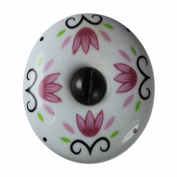 <PRE>Cabinet Knob White Porcelain 1 1/4&quot; W/ Black Screw </PRE>