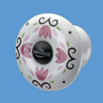 <PRE>Cabinet Knob Porcelain Tulip 1 1/2inch Dia </PRE>zoom2