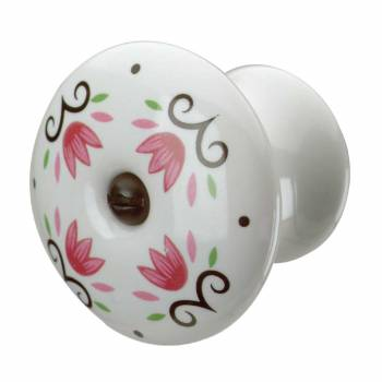 <PRE>Cabinet Knob Porcelain Tulip 1 3/4&quot; Dia W/ Black Screw </PRE>