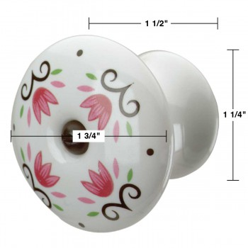 "spec-<PRE>Cabinet Knob Porcelain Tulip 1 3/4"" Dia W/ Black Screw </PRE>"