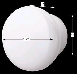 spec-<PRE>Cabinet Knob White Porcelain Plain 1 1/2&quot; Dia </PRE>