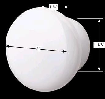 """spec-<PRE>Cabinet Knob White Porcelain Plain Pull 2"""" D </PRE>"""