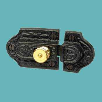 <PRE>Ornate Cast Iron Slide Cabinet Latch Brass Knob </PRE>