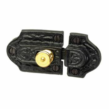 Ornate Cast Iron Slide Cabinet Latch Brass Knob