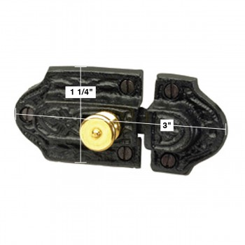 spec-<PRE>Ornate Cast Iron Slide Cabinet Latch Brass Knob </PRE>