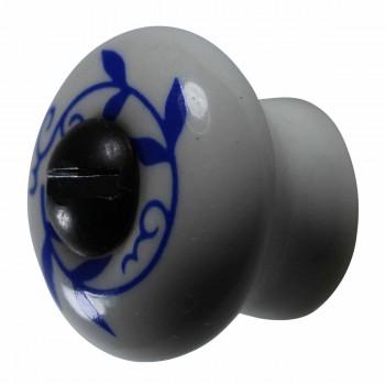 Porcelain Vines Blue on White 3/4 inch