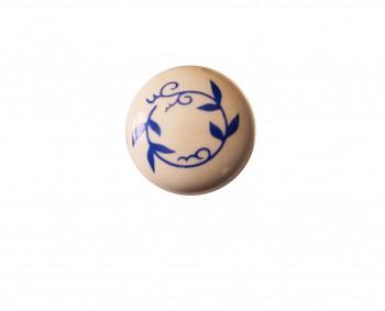 <PRE>Cabinet Knob White/Blue Porcelain Vine Plain 3/4inch </PRE>zoom3