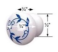 spec-<PRE>Cabinet Knob White/Blue Porcelain Vine Plain 3/4&quot; </PRE>