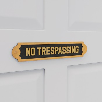 Solid Brass Sign No Trespassing 2 1/8 H x 10 3/4 W22034grid