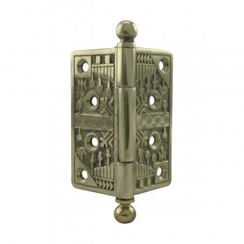 <PRE>Victorian Door Hinge Cast Solid Brass Ball Tip 4inch </PRE>zoom3