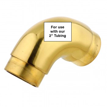 "spec-<PRE>Brass Curved Elbow Fitting 90 degree 2"" OD Bar Rail Foot </PRE>"