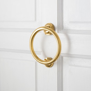 Smooth Circle Shaped Brass Ring Door Knocker 5 inch22122grid
