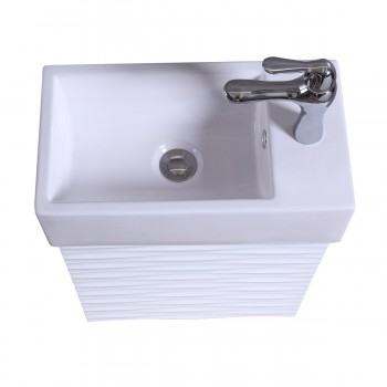 Small White Rippled Vanity Bathroom Sink White Cabinet with Faucet and Drain Vanity Cabinet Sink Bathroom Cabinet Sink Cabinet Sink Vanity
