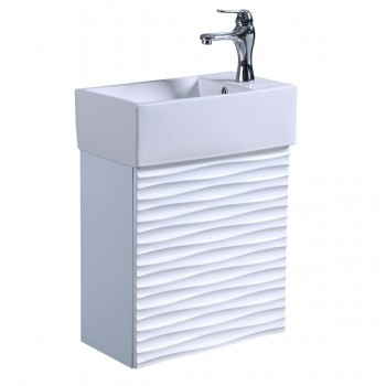 Small White Rippled Vanity Bathroom Sink White Cabinet with Faucet and Drain