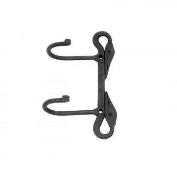 Wrought Iron Coat Hooks Double Coat Hook Hat Hook Black