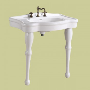 Console Sink Simple Elegance Spindle Leg Support Porcelain 32.5 W, 34.5 H Porcelain Console Sink Glossy Console Sinks Bathroom Console Sink