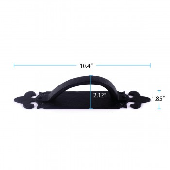 spec-<PRE>10 1/2 Inch Decorative Door Handle Black Iron Door Pull Handle</PRE>