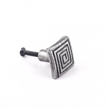Square Maze Iron Cabinet Knob Pewter Finish Cabinet Hardware22177grid