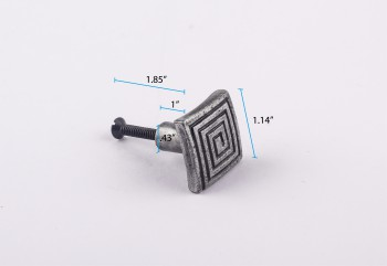 spec-<PRE>Square Maze Iron Cabinet Knob Pewter Finish Cabinet Hardware</PRE>
